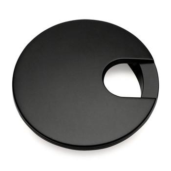 "Cosmas 50203FB Flat Black Desk Grommet - 3"" Overall Diamter"
