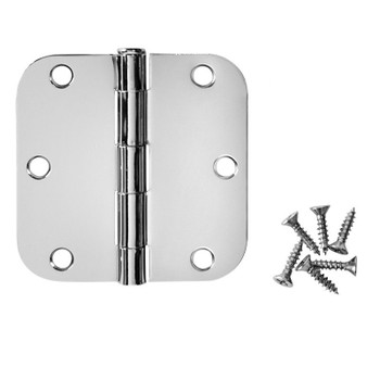 "Cosmas Polished Chrome Door Hinge 3 1/2"" with 5/8"" Radius Corners: 24091"