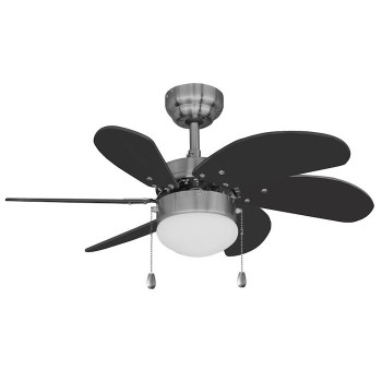 "Satin Nickel 30"" Ceiling Fan w/ Light Kit - Black Blades : 19-1487"