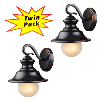 Oil Rubbed Bronze Outdoor Patio / Porch Exterior Light Fixtures - Twin Pack : 21-2434