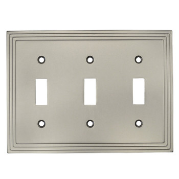Cosmas 25037-SN Satin Nickel Triple Toggle Switchplate Cover