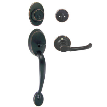 Designers Impressions Frankfort Oil Rubbed Bronze Handleset with Arlington Interior: 33-8000/5444