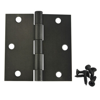 "Cosmas Oil Rubbed Bronze Door Hinge 3 1/2"" with Square Corners: 37601"