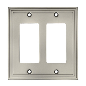 Cosmas 25090-SN Satin Nickel Double GFCI / Decora Wall Plate