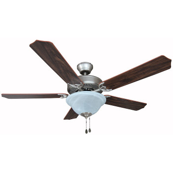 "Satin Nickel 52"" Ceiling Fan w/ Light Kit : 7059"