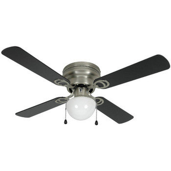 "Satin Nickel 42"" Hugger Ceiling Fan w/ Light Kit : 3611"