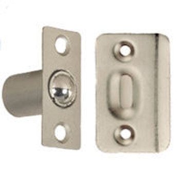Satin Nickel Ball Catch w/ Strike Plate: 52-3944