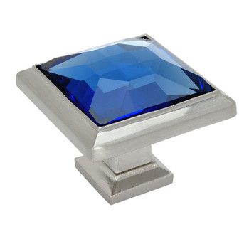 Cosmas 5883SN-BL Satin Nickel & Blue Glass Square Cabinet Knob