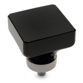 Cosmas 6377SN-X Satin Nickel & Black Glass Square Cabinet Knob