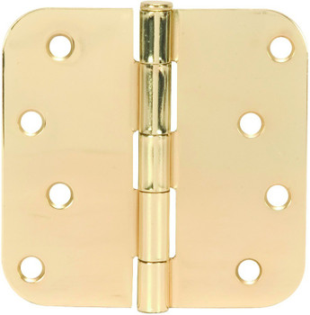 "Polished Brass Door Hinge 4"" with 5/8"" Radius Corners: 52-2490"