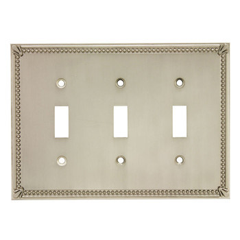 Cosmas 44032-SN Satin Nickel Triple Toggle Switchplate Cover