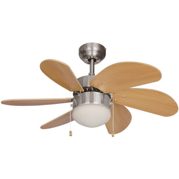 "Satin Nickel 30"" Ceiling Fan w/ Light Kit : 4852"
