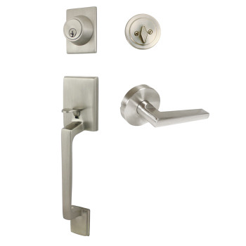 Designers Impressions Churchill Design Satin Nickel Handleset with Madison Interior