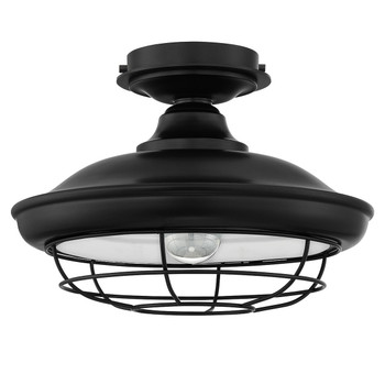 Designers Impressions Charleston Matte Black Semi-Flush Mount Ceiling Light Fixture : 10002