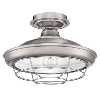 Designers Impressions Charleston Satin Nickel Semi-Flush Mount Ceiling Light Fixture : 10003