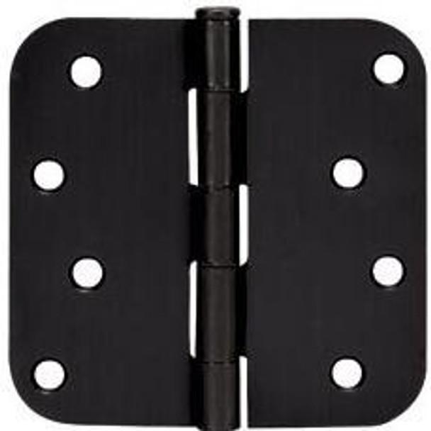 """Cosmas Matte Black Door Hinge 4"""" with 5/8"""" Radius Corners: 44074"""