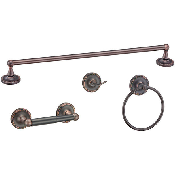 Designers Impressions Naples Series 4 Piece Oil Rubbed Bronze Bathroom Hardware Set: 19335/19069