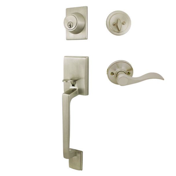 Cosmas 600 Series Satin Nickel Handleset with 80 Series Interior: HS600/89-SN