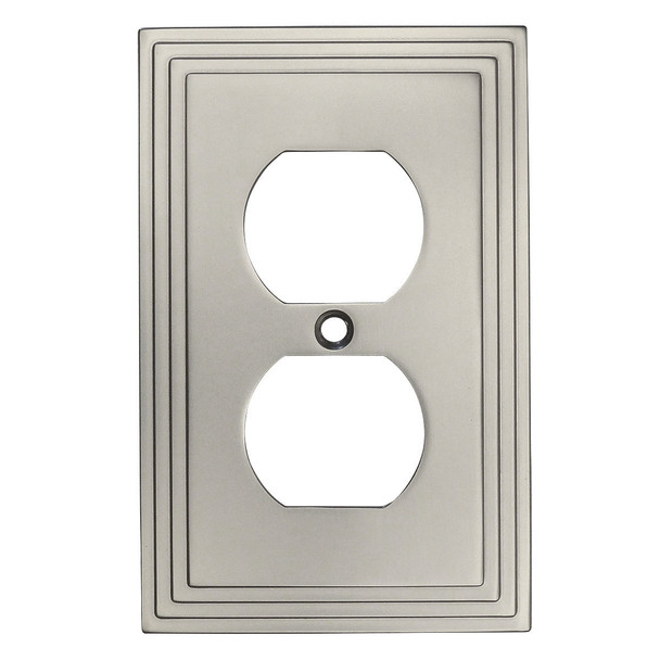 Cosmas 25026-SN Satin Nickel Single Duplex Outlet Wall Plate