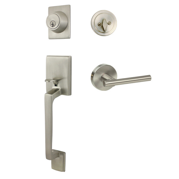 Designers Impressions Churchill Design Satin Nickel Handleset with Kain Interior
