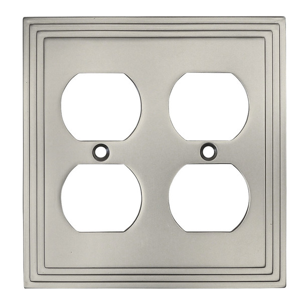 Cosmas 25012-SN Satin Nickel Double Duplex Outlet Wall Plate