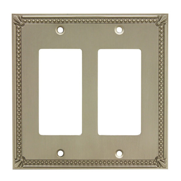 Cosmas 44098-SN Satin Nickel Double GFCI / Decora Wall Plate