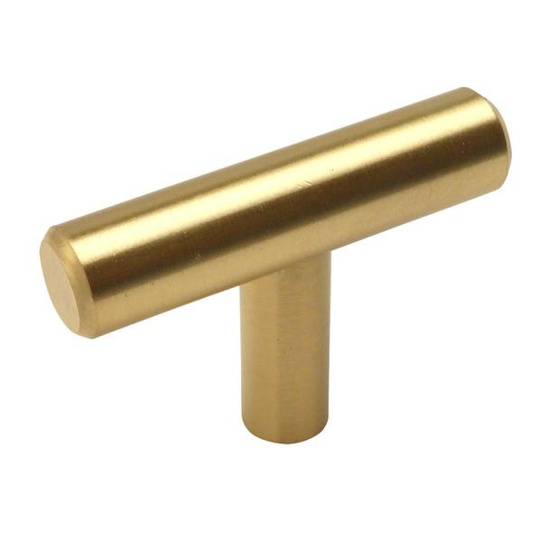 Cosmas 305BB Brushed Brass Cabinet Hardware Euro Style T Bar Knob
