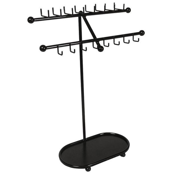 Designers Impressions JR21-FB Flat Black Free Standing Tree Jewelry Organizer and Display Rack