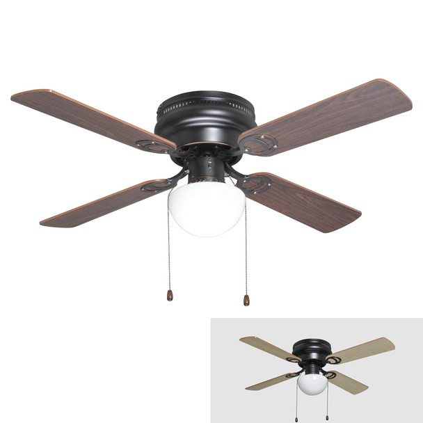 "Oil Rubbed Bronze 42"" Hugger Ceiling Fan w/ Light Kit & Reversible Blades : 2272"