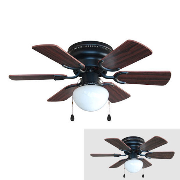 "Oil Rubbed Bronze 30"" Hugger Ceiling Fan w/ Light Kit : 4640"