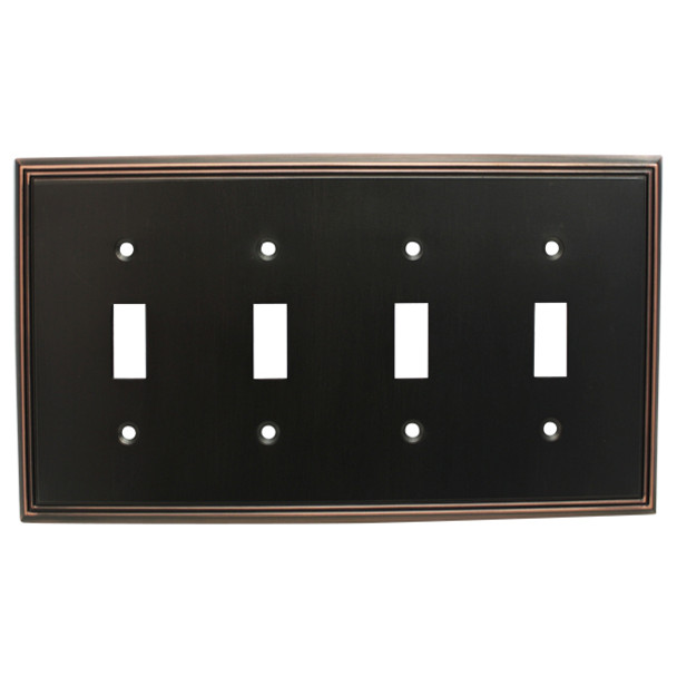 Cosmas 65006-ORB Oil Rubbed Bronze Quad Toggle Switchplate Cover