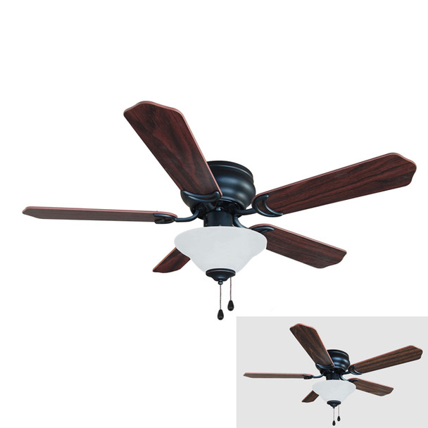 "Oil Rubbed Bronze 42"" Hugger Ceiling Fan w/ Light Kit : 1227"