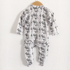 Ruffle Footed Romper, Snow Leopard