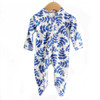 Ruffle Footed Romper, Indigo Fern