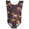Mini Rodini Horse Ruffle Swimsuit, Chocolate