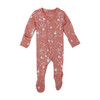 Organic Footed Overall, Coral Splatter