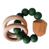 Hayes Silicone + Wood Teether, Kale Green