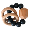 Hayes Silicone + Wood Teether, Black