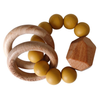 Hayes Silicone + Wood Teether, Mustard