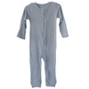 Organic Thermal Zip Romper, Dusty Blue