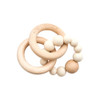 Wood & Silicone Ring Teether, Beige