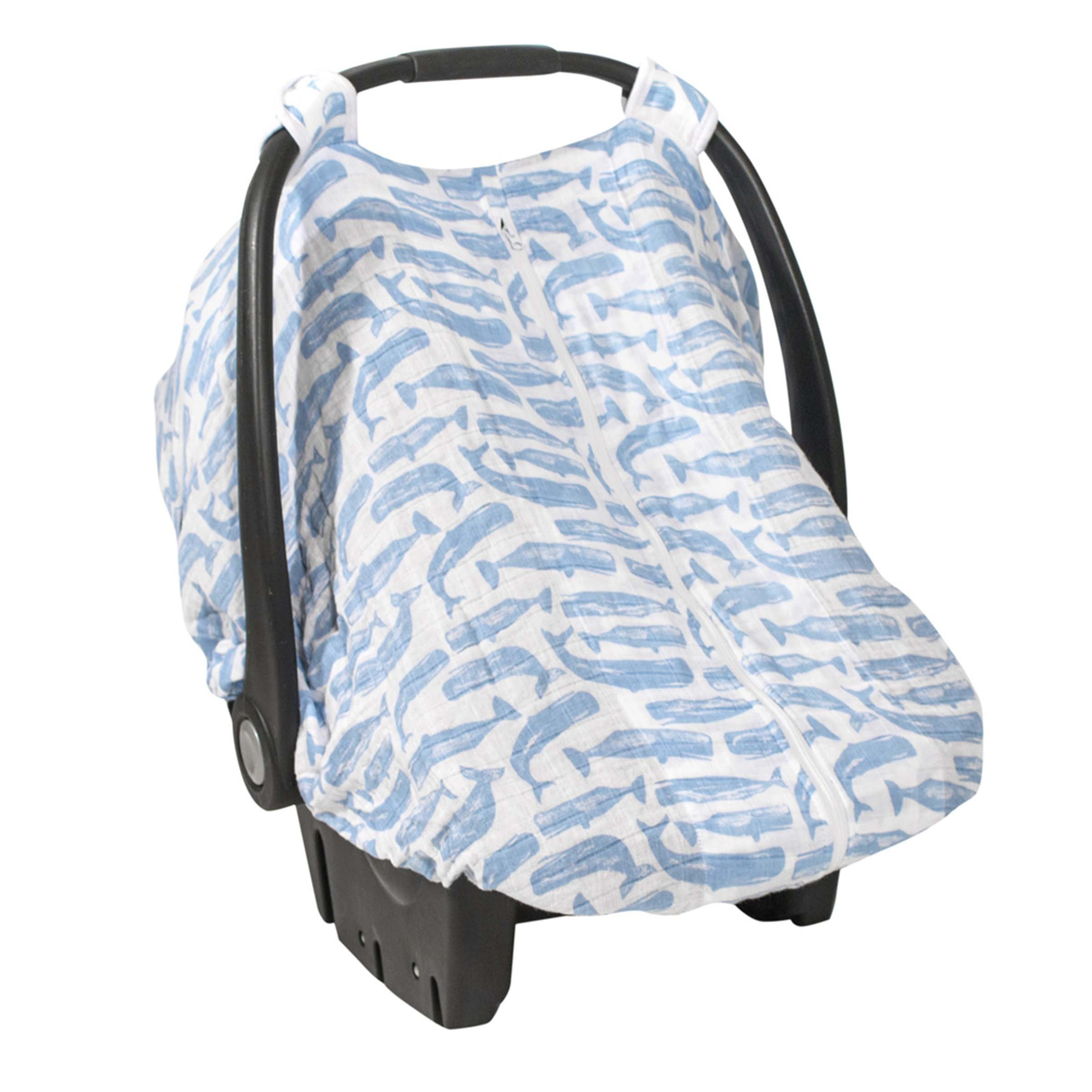 Muslin Car Seat Canopy Whales