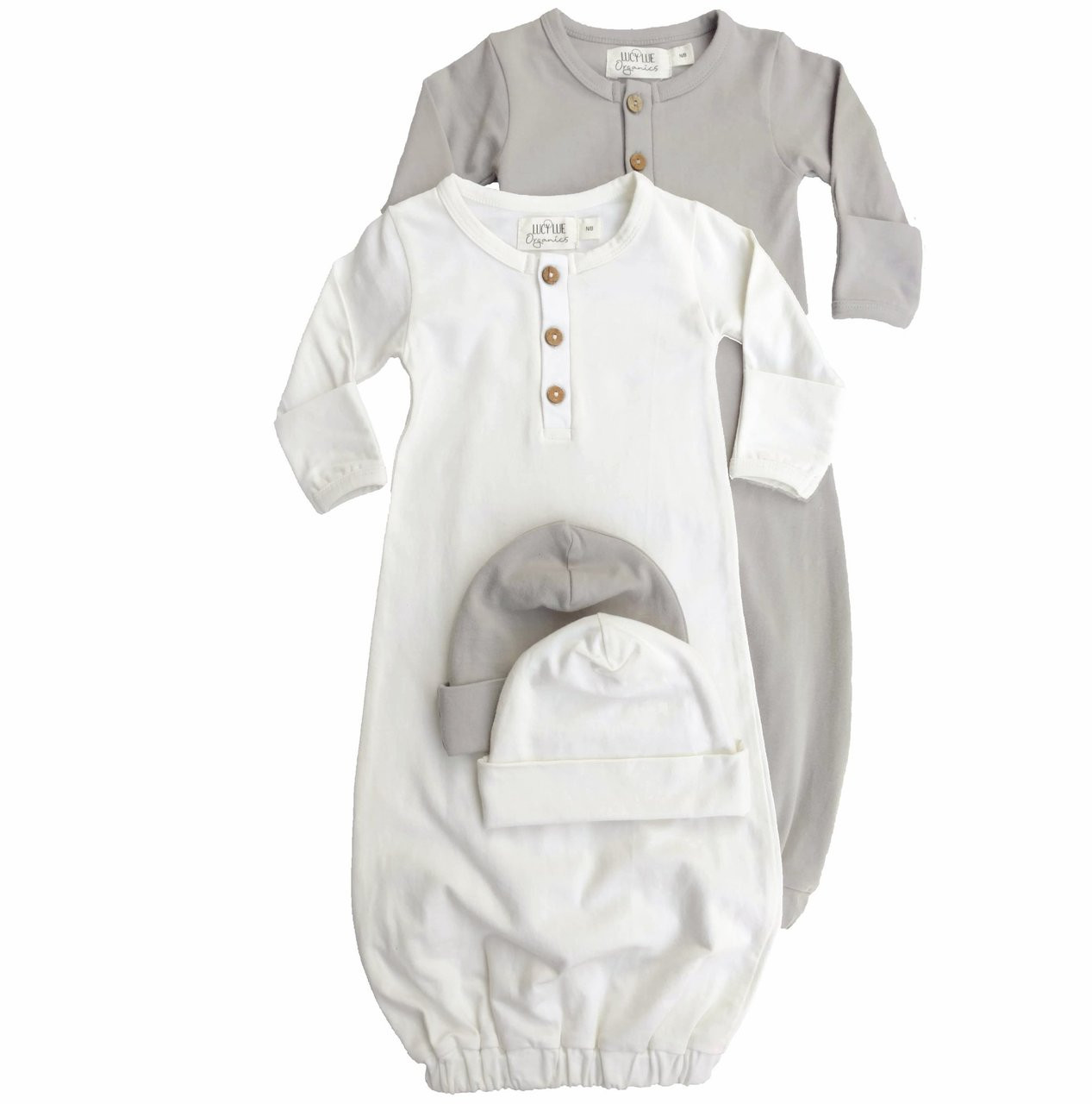 Organic Newborn Layette Bundle, Baby Hat and Snuggle Gown ...