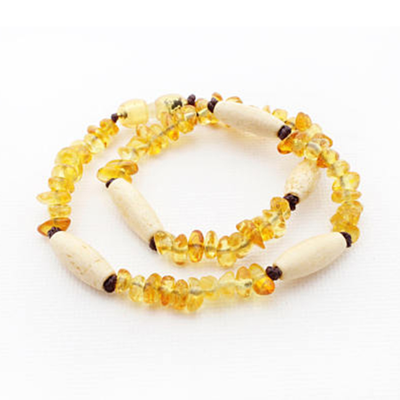 Raw Amber Teething Necklace Oblong Wood Beads Spearmint Ventures Llc