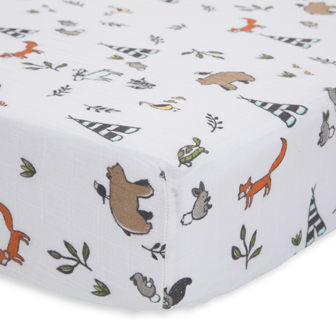Cotton Muslin Fitted Crib Sheet Forest Friends