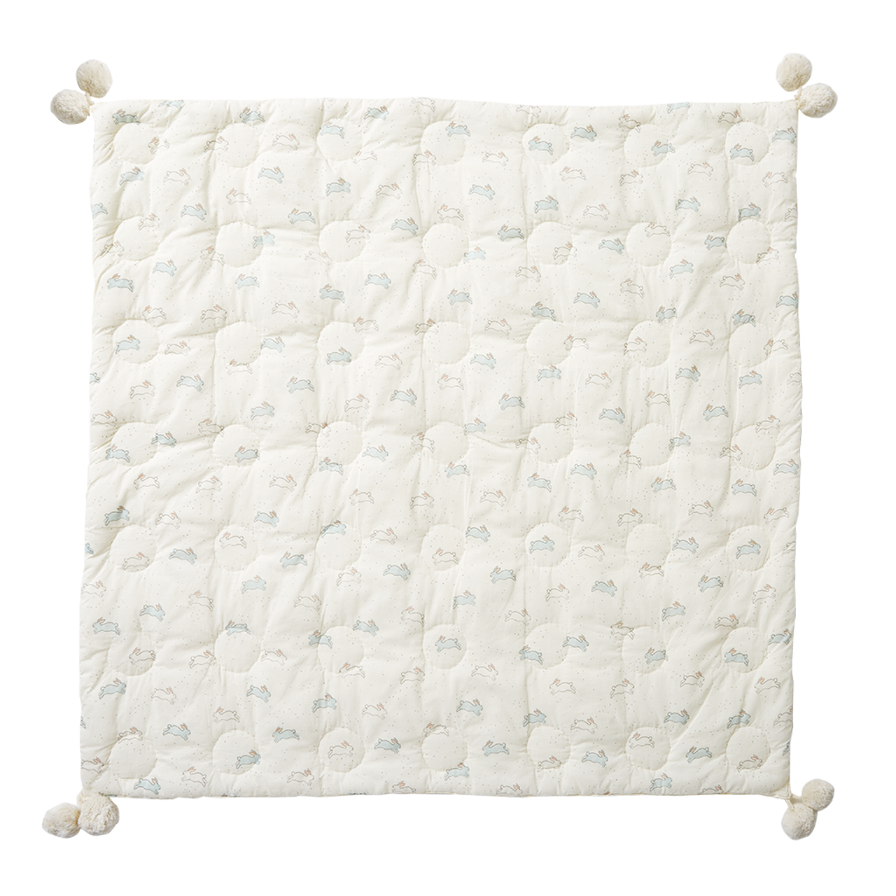 Tiny Bunny Quilted Pom Pom Blanket - Spearmint Ventures, LLC