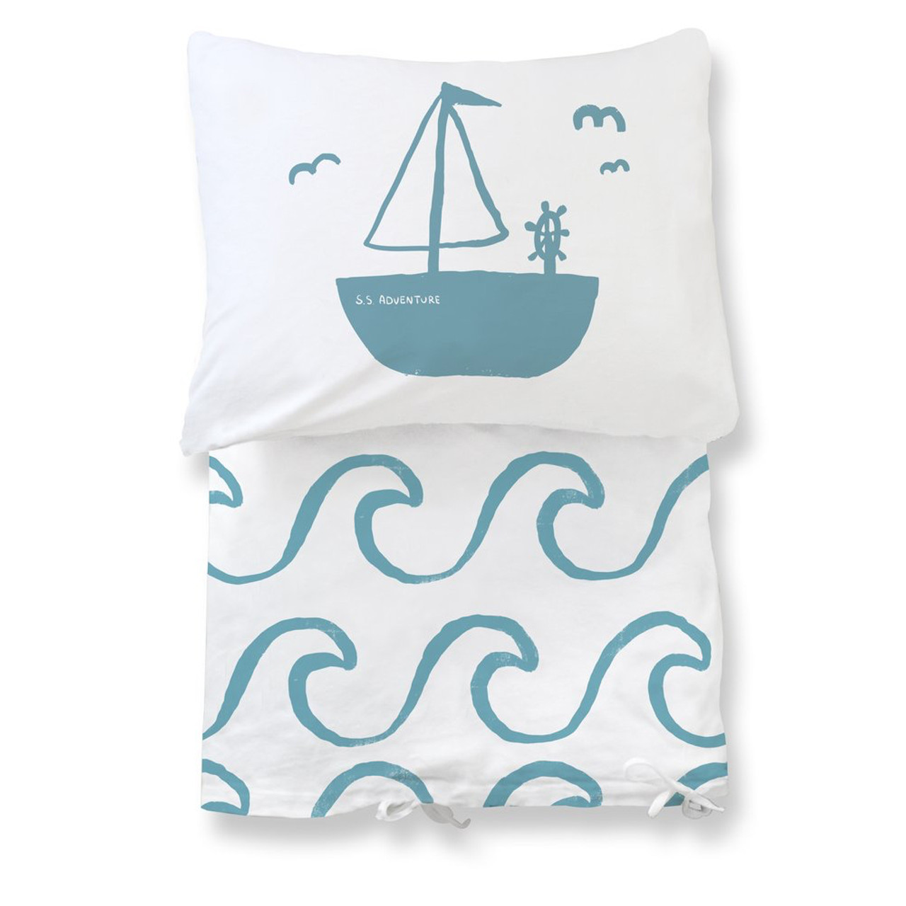 Organic Toddler Duvet Set Big Waves Blue Spearmint