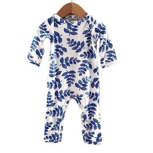 Long Sleeve Romper, Indigo Fern