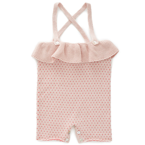 Oeuf Ruffle Knit Romper, Rose/Red Dot