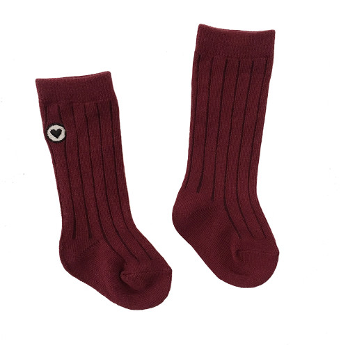 Organic Ribbed Knee Sock, Rosewood